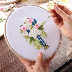 Europe DIY Ribbon Flowers Embroidery Set with Frame for Beginner Needlework Kits Cross Stitch Series Arts Crafts Sewing Decor