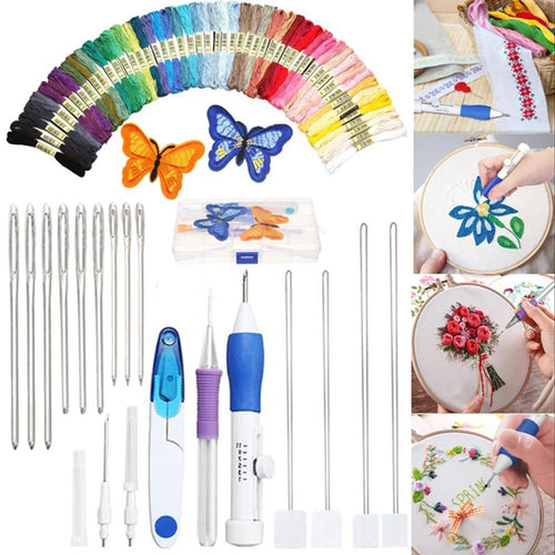 50 Color Threads Embroidery Stitching Punch Needle Embroidery Kit