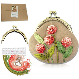 Embroidery Purse Frame Kiss Clasp Lovely Flowers