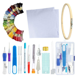 Russian Embroidery Tool Box Manual Diy Poke Music Accessories Sewing Kit 50 Color Embroidery Tool Box Line Butterfly Set