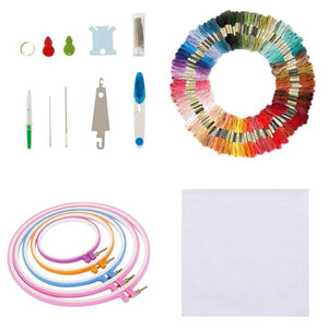 Embroidery Apparel Hoop Embroidery Kit Colored Threads For Adults Beginners 1