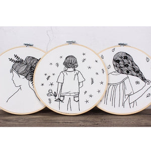 Sketch Easy Embroidery Kit for Beginner Printed Needlework Cross Stitch Set Sewing Art Wall Embroidery Painting Home Decor 30cm