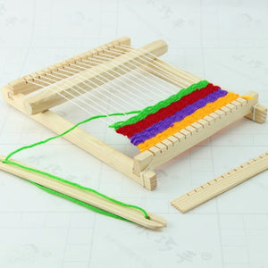 Child DIY Wooden Handloom Developmental Toy Yarn Weaving Knitting Shuttle Loom