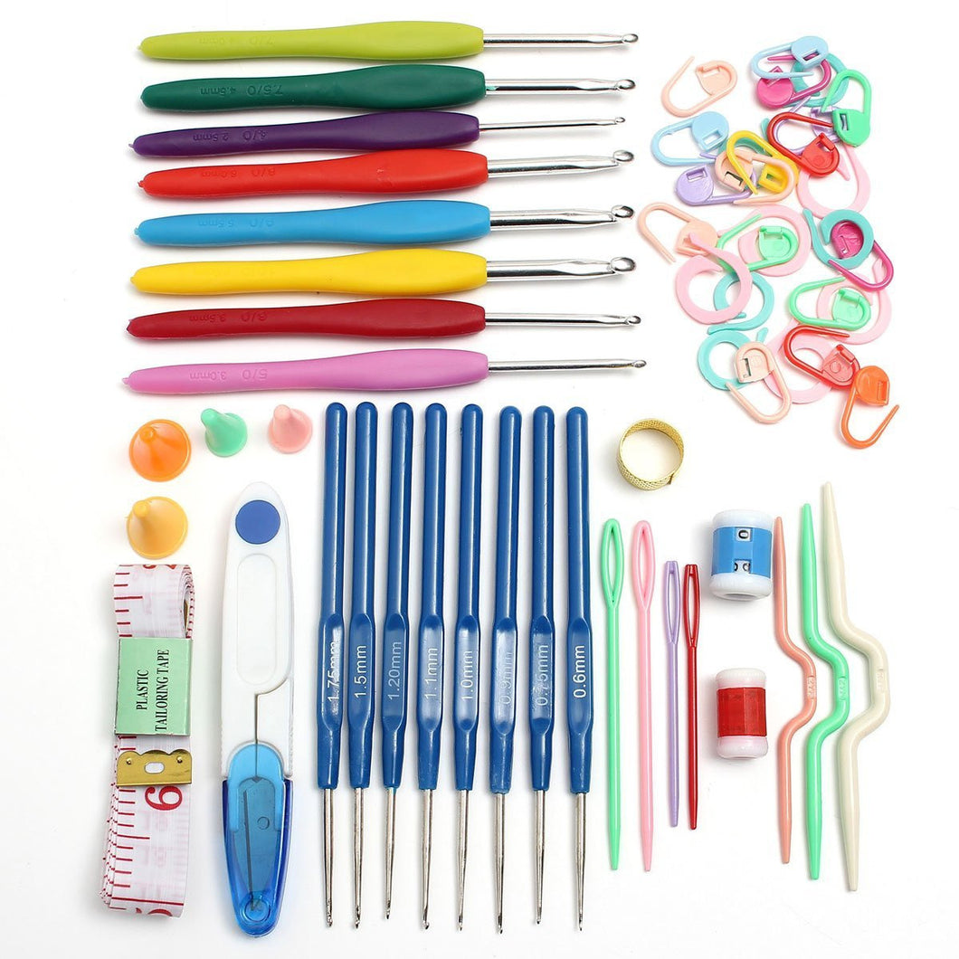 Crochet Kit with Aluminum Needle Soft Grip Crochet Hooks Crocheting Tools Access