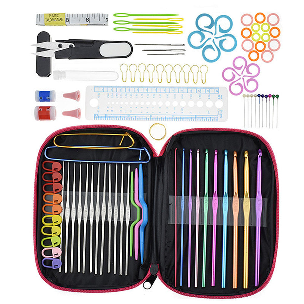 100pcs Crochet Hooks Set Colorful Aluminum Crochet Hooks Knitting Needles with Accessories Tools