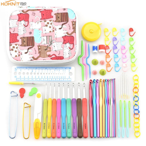 KOKNIT Aluminium Crochet Hooks Knit Colorful Crochet Needle Set Sweater Knitting Needls Set DIY Clothes Scarf with Bag