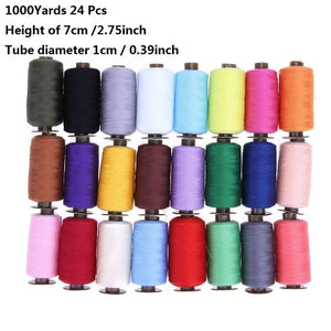 24Pcs 1000 Yard Embroidery Machine Sewing Threads Polyester Hand Sewing Thread Patch Steering-wheel Sewing Supplies