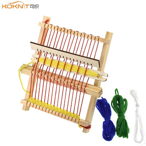 KOKNIT Mini DIY Traditional Wooden Weaving Toy Loom Handmade Knitting Machine with Accessories For Kids Children Knitting Loom