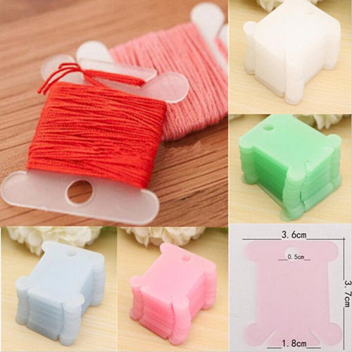 100pcs Plastic Embroidery Floss & Craft Thread Bobbins DIY Sewing Tools for Cross Stitch Sewing Supplies for Storage Holder