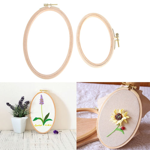 Oval Cross Stitch Machine Bamboo Frame Wooden Embroidery Hoop Ring Hand DIY Needlecraft Household Sewing Tool