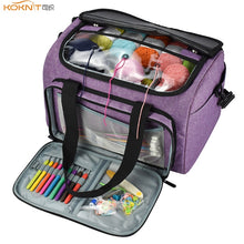 Load image into Gallery viewer, KOOKNIT Knitting Bag Yarn Tote Organizer with Inner Divider for Wool Crochet Hooks Knitting Needles Sewing Set DIY Storage Bag