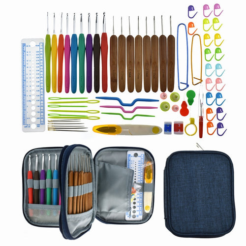 KOKONI Bamboo Crochet Hook Set Yarn Weave Knitting Hooks Needles Sewing Tools DIY Craft Tool Accessory Crochet Kit For Women Mom