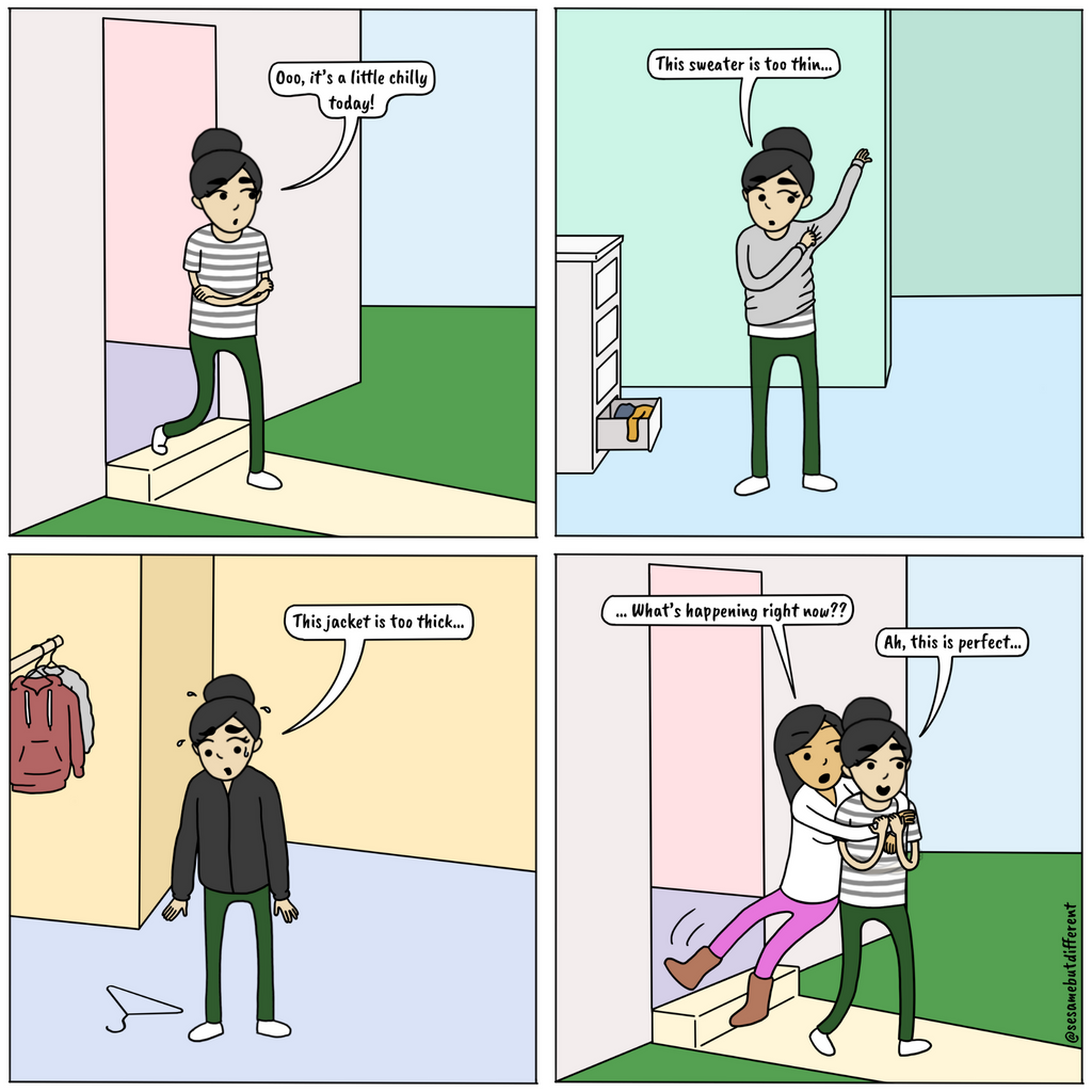 A cute lesbian relationship comic about how your partner is the perfect temperature. Check out Sesame But Different for more heartwarming lesbian comics, content, and gifts.