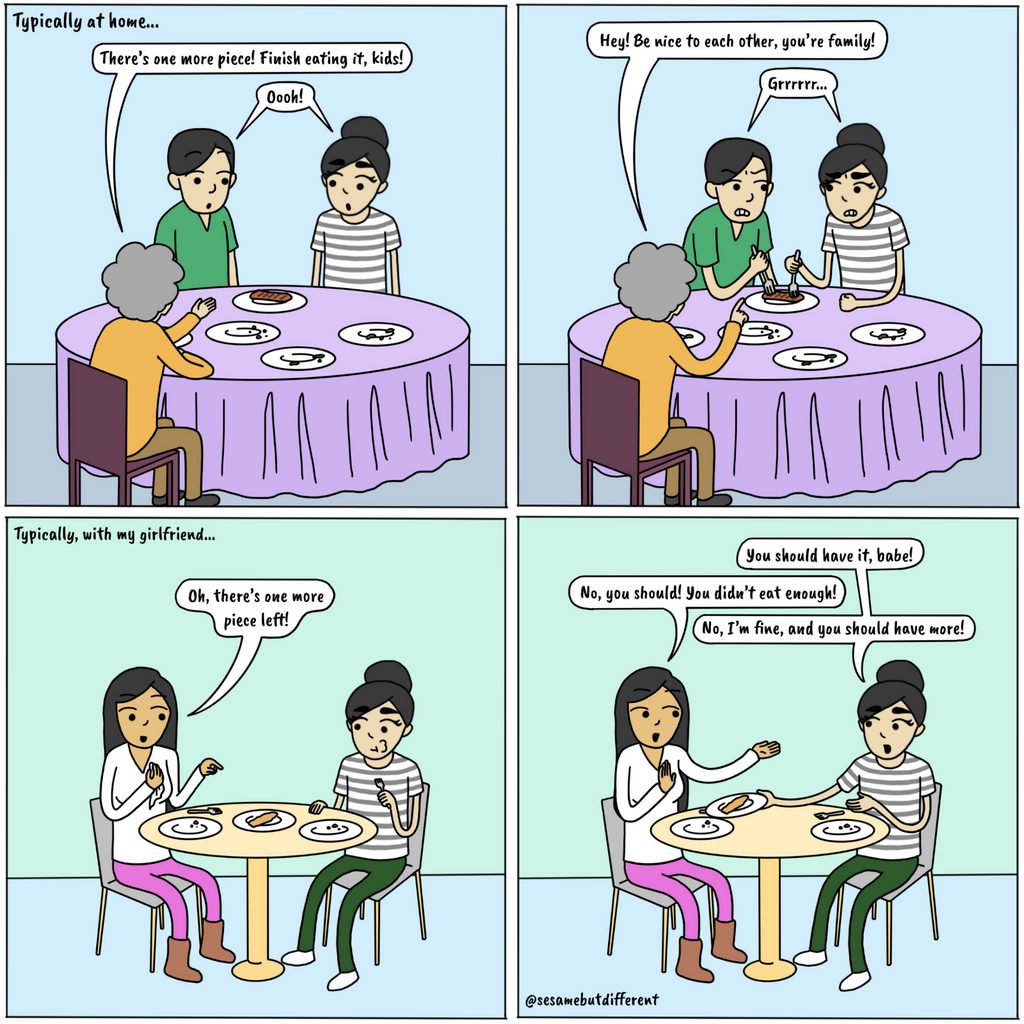 A cute lesbian relationship comic about the double standard of loving food and also wanting your girlfriend to have all the food. Check out Sesame But Different for more heartwarming lesbian comics, content, and gifts.