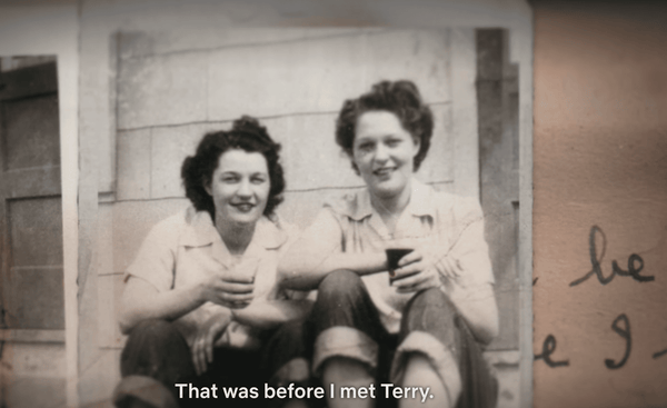Black and white photo of Pat and Terry when they met from A Secret Love