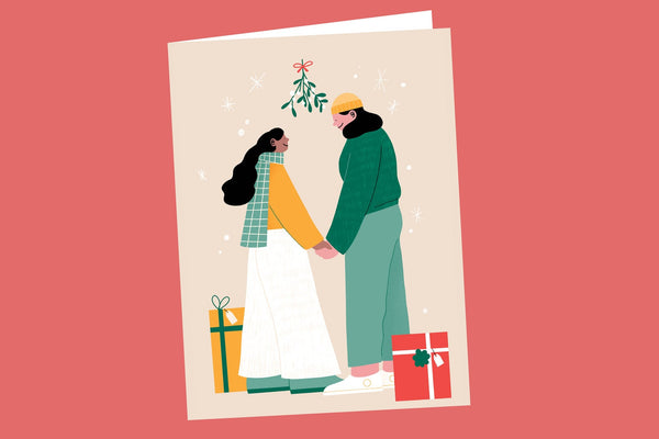 Gay Gals Holding Hands Christmas Card