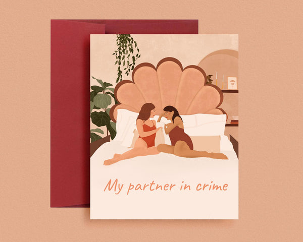 Partner in Crime Lesbian Valentine's Day Card