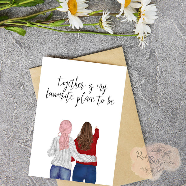 Together is my favorite place to be lesbian valentine's day card