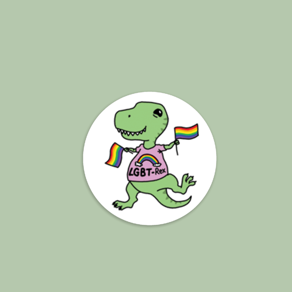 Punny LGBT-Rex Vinyl Sticker | Gay Pride | LGBTQ | Laptop Sticker