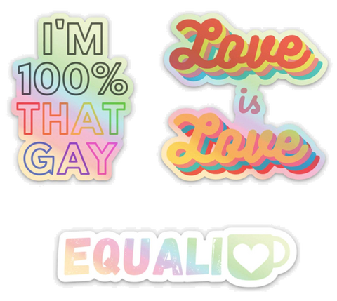 LGBTQ Pride Holographic Vinyl Stickers | Pack of 3 | Gay Lesbian Pride | Die Cut Laptop Stickers