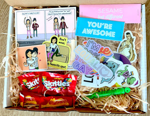 LGBTQ Pride Care Package | Rainbow Pride Box | LGBTQ Gifts | Gay Lesbian Pride Package | Sesame But Different