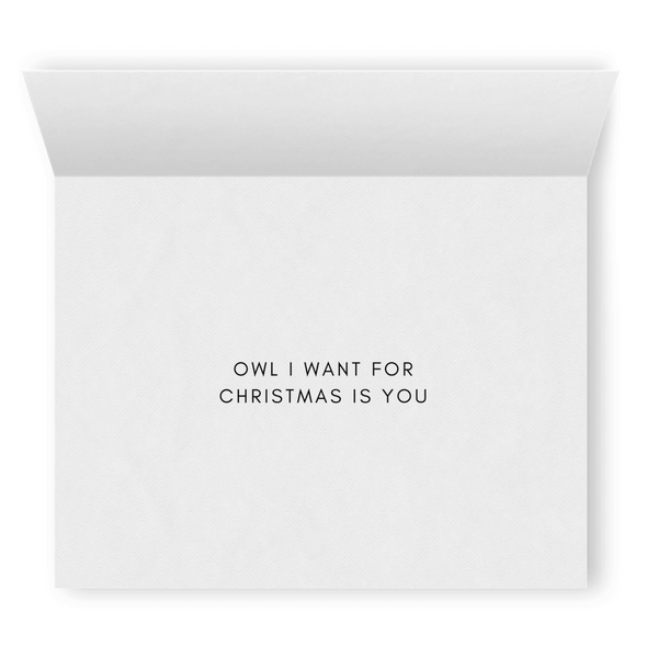 Owl I Want for Christmas is You | Cute Punny Christmas Card | Lesbian Holiday & Christmas Greeting Cards