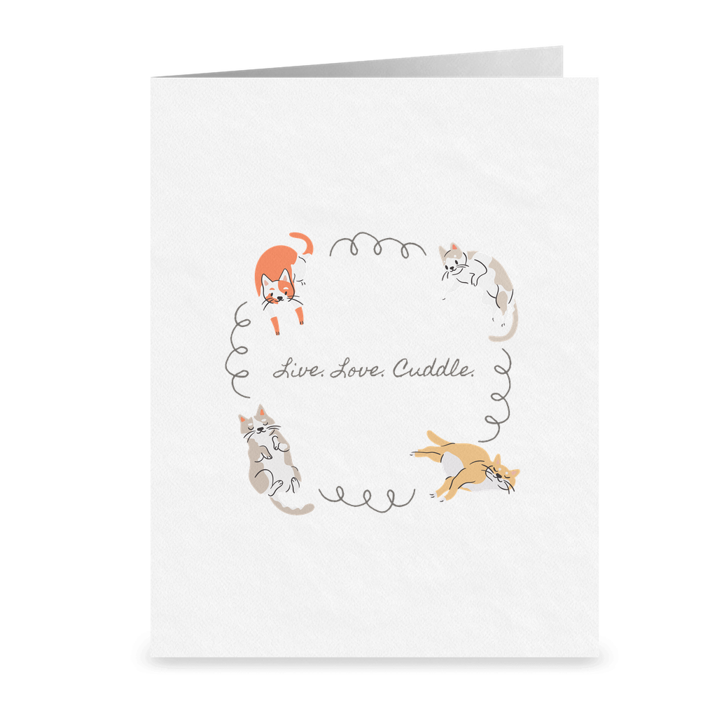Live. Love. Cuddle | Cute Romantic Lesbian Greeting Card | LGBTQ Anniversary Gift