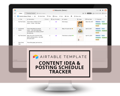 Beautiful Content Idea & Posting Schedule Tracker | Airtable Template Content Management | Digital Download Link and Instructions