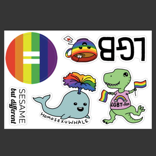 Punny Cute LGBT-Rex, Homosexu-Whale, LGB-Tea, Equality Rainbow Vinyl Sticker Sheet | Gay Pride | LGBTQ | Laptop Stickers