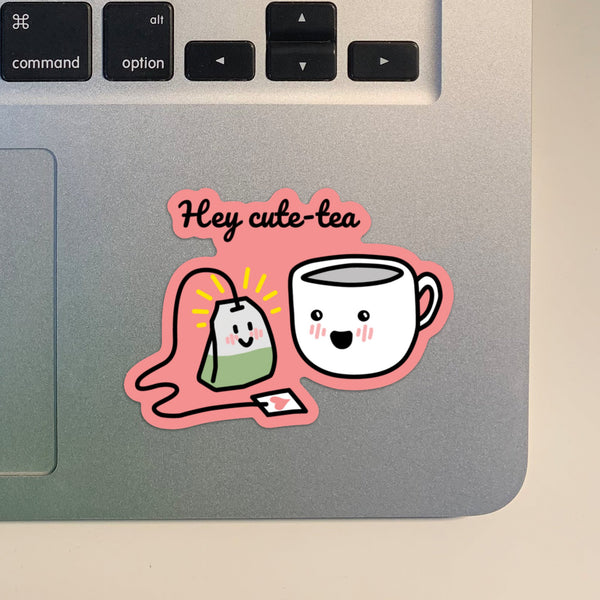 Punny Cute Hey Cute-Tea Asian Sticker | Laptop Vinyl Sticker | Die Cut Sticker