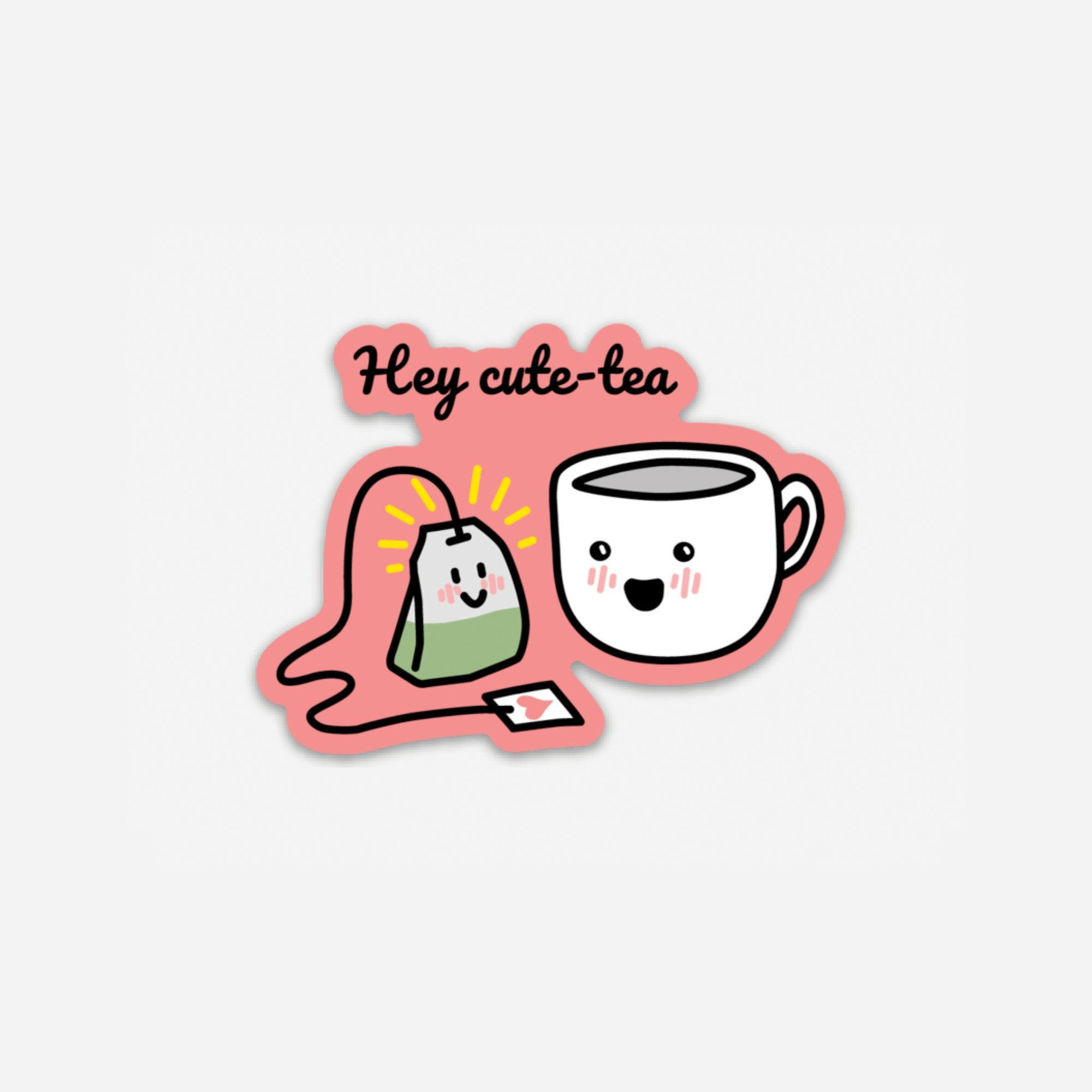 Punny Cute Hey Cute-Tea Asian Sticker | Vinyl Sticker | Die Cut Sticker
