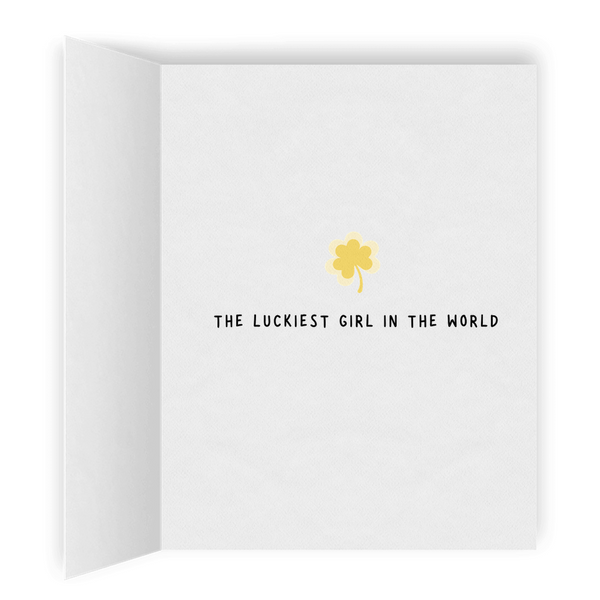 Luckiest Girl in the World | Romantic Lesbian St. Patrick's Day Card | Cute Lesbian Anniversary Gifts | LGBTQ Greeting Card
