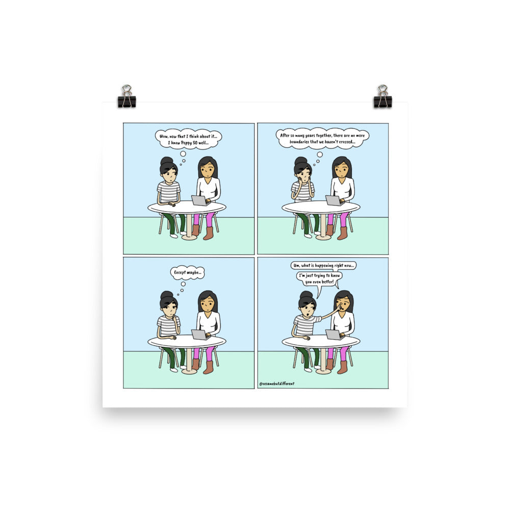 No Boundaries | Cute Lesbian Relationship | Pride Gifts | LGBTQ Comic Print