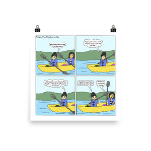 Kayaking | Cute Lesbian Relationship | Pride Gifts | LGBTQ Comic Print