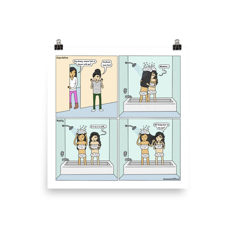 Shower | Cute Lesbian Relationship | Pride Gifts | LGBTQ Comic Print
