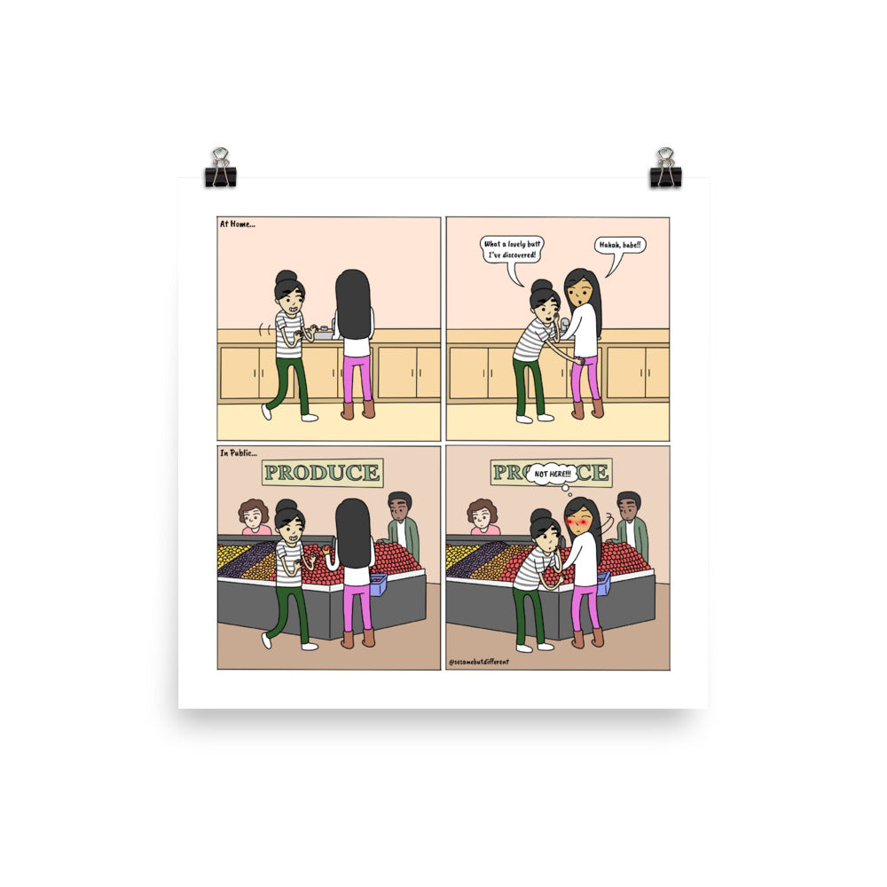 "Time and Place | Cute Lesbian Relationship | Anniversary Gifts | Lesbian LGBTQ Comic Print (10"" x 10"") 