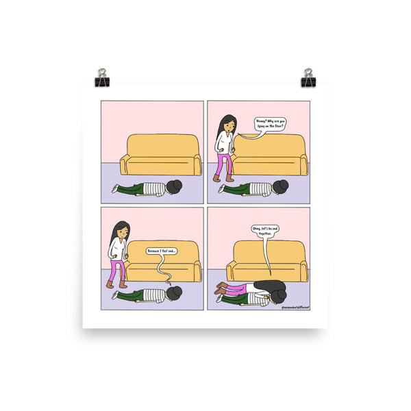 "I Got You, Babe | Cute Lesbian Relationship | Anniversary Gifts | Lesbian LGBTQ Comic Print (10"" x 10"") 