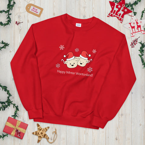 Happy Winter Wontonland Christmas Sweater | Cute Punny Dim Sum Christmas Sweater (Red)
