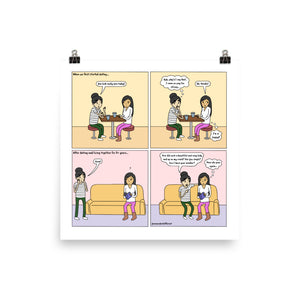 "Coming On Strong | Cute Lesbian Relationship | Anniversary Gifts | Lesbian LGBTQ Comic Print (10"" x 10"") 
