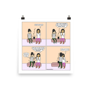 "Poppy's Singing | Cute Lesbian Relationship | Anniversary Gifts | Lesbian LGBTQ Comic Print (10"" x 10"") 