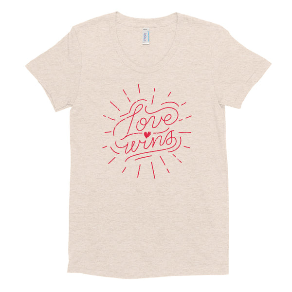 Love Wins T-Shirt | LGBTQ Pride Shirt | Women's Crew Neck T-shirt (Oatmeal / Beige)