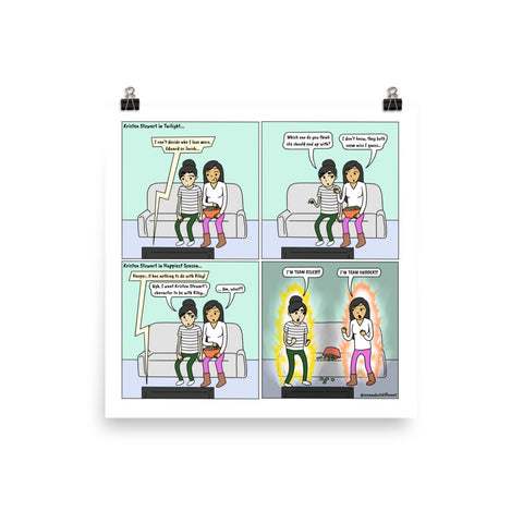 Happiest Team | Cute Lesbian Relationship | Pride Gifts | LGBTQ Comic Print