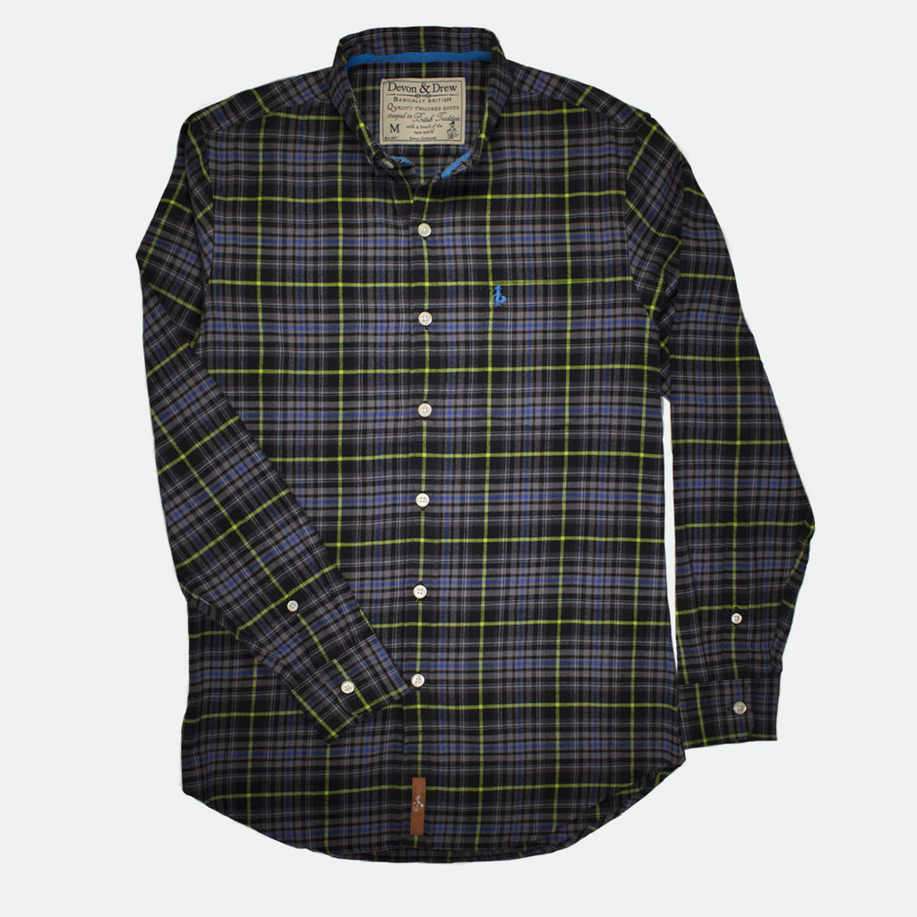 Richmond Classic Green Black Plaid Flannel Shirt
