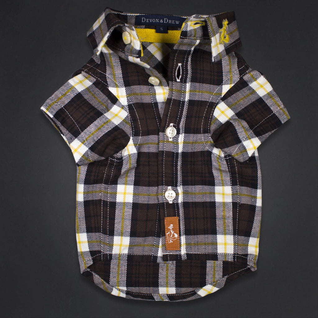 Richmond Classic Brown Flannel Dog Shirt