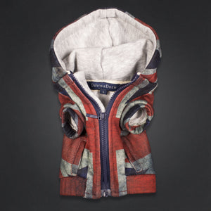 Dog Hoodie with Union Jack Print