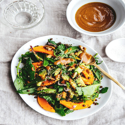 New! Butternut squash & avocado salad with shoy & tahini sauce