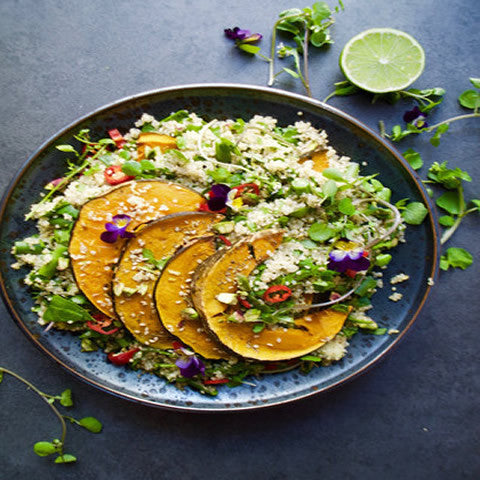 Green Quinoa Salad with Roasted Pumpkin