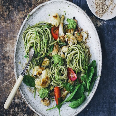 Creamy Vegan Pesto Pasta & Cauliflower