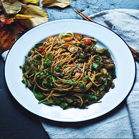 New! Corn spaghetti & lightly fried courgette ribbons
