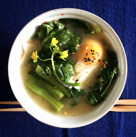 New! Miso Greens and raw Egg